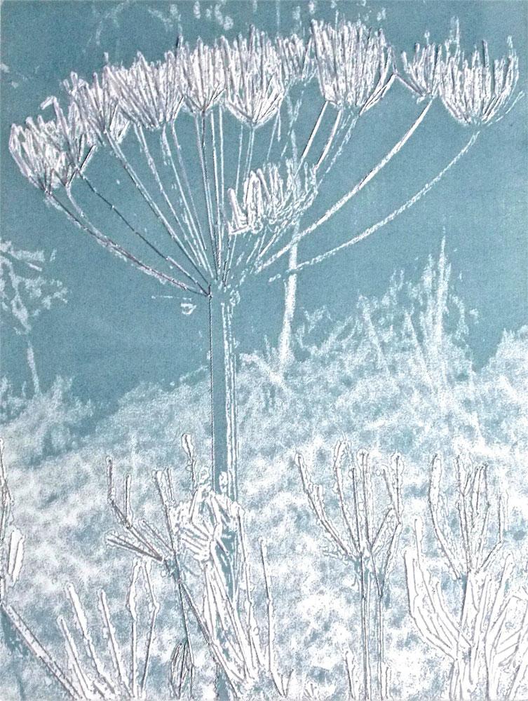 Alison D'Oyley - Cow Parsley – handmade silkscreen print with stitch