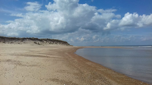 Brancaster beach - view west.