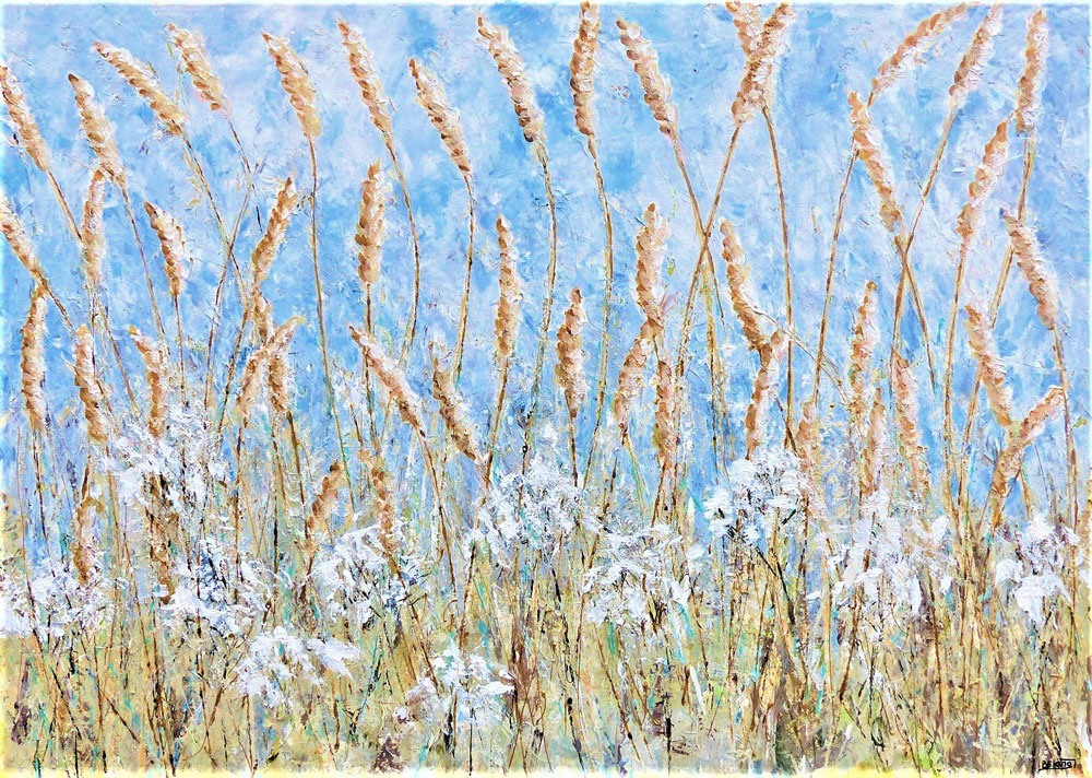 Barbara King - Summer Fields with Wheat Hedgerow painting